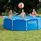 Intex 10 x 25 Foot Round Metal Frame Backyard Above Ground Swimming Pool Blue