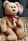RARE TY Beanie Baby CURLY Teddy Bear w Errors NO INSPECTION STAMP crooked eye!