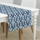 Table Runner Tribal Triangle Stacked Navy Native Peace Tie Dye Cotton Sateen