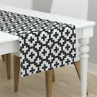 Table Runner Native Black And White Plus Signs Native Prairie Cotton Sateen