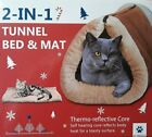 PET PRODUCTS 2 in 1 Tunnel Bed and Mat for Cats Thermo Reflective Core