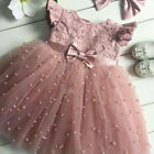 Flower Girl Summer Princess Dress Kid Baby Party Wedding Lace Tulle Tutu Dress
