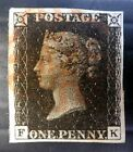 GB 1841 Penny Black Fine 4 Margins with Red MALTESE CROSS NQ50