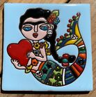 1 Talavera Day of the Dead Tile 4 Frida blue eyed mermaid heart artist flowers