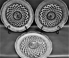 Set of 3 WEXFORD ANCHOR HOCKING CRYSTAL DINNER PLATES 9.5 inch Scalloped Rim