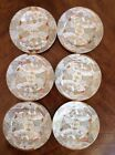 VTG Nippon Royal Satsuma Moriage Beaded Gold Red Hand Painted 7 Dessert Plates