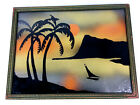 Vintage Reverse Painted Glass Picture Palm Tree Tropical Tiki Sailboat Framed