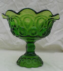 Vintage LE Smith Moon and Stars Footed, Fuffled Edge Green Glass Compote/Candy