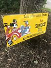 "VINTAGE SUNOCO MOTOR OIL PORCELAIN SIGN WITH DISNEY'S MICKEY MOUSE ""made In 39"""