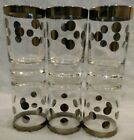 EUC SET OF 6 Platinum Clear 4 OZ JUICE Glasses Silver POLKA Dots DOROTHY THORPE