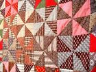 Antique vtg late 1800s Windmill Quilt hand quilted stitched patchwork