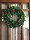 Vintage 18 Inch Plastic Christmas Wreath With Holly Pine cones Light Up Retro