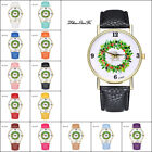 Christmas Casual Lover Leather Stainless Steel Quartz Analog Wrist Watch Cheap T