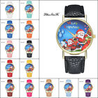 Christmas Casual Lover Leather Stainless Steel Quartz Analog Wrist Watch Cheap U