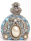 Jeweled Ornate Vintage Silver Tone Filigree Bow Aqua Blue Perfume Bottle