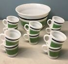 Vintage HAZEL ATLAS Punch Egg Nog Bowl W/ Cups Glasses Green Black