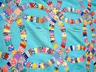 Vintage 1930s Double Wedding Ring Quilt Top hand stitched