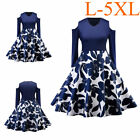 Plus size Women Vintage Style Pinup Swing Retro Evening Party Rockabilly Dress