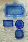 Blue Cut Glass Vanity Set Tray Trinket Box with Lid Soap Dish 4 Piece Vintage