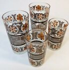 Vintage 60s 70s Mod Kitchen Set of 4 Retro Juice Drinking Glasses Orange Brown