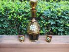 Vintage Amethyst Glass Bohemian Decanter 2 Glasses Gold Enameled Flowers