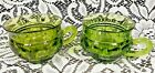 Vintage L.E.Smith Moon and Stars Green Glass Coffee Tea Cups Pair of 2
