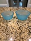 VINTAGE SET of 2 NESTING BOWLS USA ANCHOR HOCKING FIRE KING FROSTED ICE BLUE