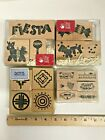 Lot 4 Rubber Stamp Set Fiesta Party Mexico Pinata Maraca Halloween Southwest