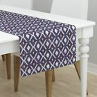 Table Runner Kilim Tribal Geometric Bohemian Native Aztec Purple Cotton Sateen