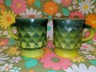 Two Vintage Fire King Green Kimberly Coffee Cups Mugs free shipping