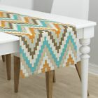 Table Runner Chevron Tribal Southwestern Indian Native Boho Cotton Sateen