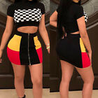 Two-Piece Women Chess Plaid Short Sleeve Crop Top T-Shirt Skirts Set Outfits US