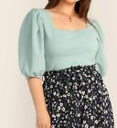 Plus Size Green Blue Square Neck Puff Sleeve 3 4 Sleeve Elegant Blouse Top