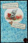 ELLIOT THE ELEPHANT Flowers GLITTERED THINKING OF YOU Blank Greeting Note Card