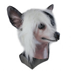 Dog Latex Animal Head Mask Poodle Crested Dog Full Head Mask Realistic Cosplay