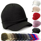 Plain Winter Visor Beanie Knit Hat Cap Crochet Men Women Ski Thick Warm Headwear
