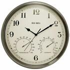 Westclox 125 Indoor or Outdoor Metal Case Wall Clock Temperature and Humidity