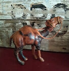 Antique Leather Wrapped Camel Statue Figure figurine with glass eyes handmade