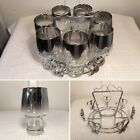 7 Vintage DOROTHY THORPE 16 oz Silver Fade Rim Glass Tumblers in Chrome Holder