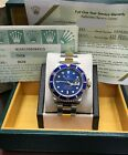 Rolex Submariner 16613 Blue 18K Gold & Stainless Steel Gold Box & Papers
