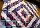 Antique vtg late 1800s Log Cabin Quilt Top patchwork calico indigo