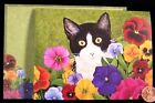 Adorable Cat Bright Colored Pansies Flowers BY LOWELL HERRERO Note Card NEW