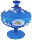 1970s Westmoreland Glass Blue Satin Mist w HP Daisy 6t Covered Candy Compote