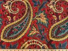 PLUMTREE PAISLEY JEWEL Waverly Print Linen Drapery Upholstery Decor Fabric Red