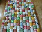 Unusual Vintage Handmade Rag Puffy Stuffed Granny Square Patch Quilt 6 1 2 lbs