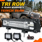 Tri-Row 16inch 864W+18W LED Light Bar Combo For Jeep Wrangler TJ JK YJ Offroad