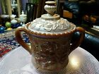 Vintage  IMPERIAL  Brown Sugar Pearl Slag Glass Covered HANDLED Dish RARE