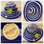 Block Mouth Blown Crystal Blue Hat Candy Dish