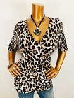 Styleco L Top Stretch Animal Print Low V Cut Crossbody Blouse Shirt Ruched