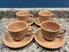 Fiesta Cup and Saucer Set Apricot Set of Four (4) Excellent Fiestaware Retired
